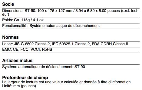 Spécifications techniques de l'Opticon OPR2001 (socle, normes...)