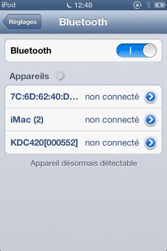 Koamtac KDC400 reconnu par un iPod (IOS)