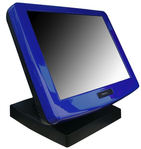 Terminal Posiflex de couleur bleue