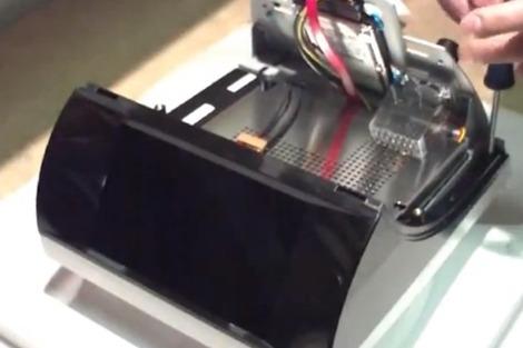 Bleep TS-910 ouvert, avec disque dur interne visible
