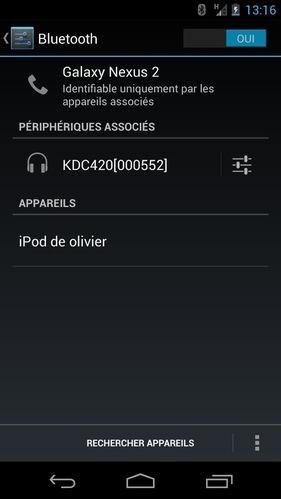 Koamtac KDC400 reconnu sur un Samsung Android