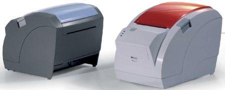deux imprimantes-tickets ODP-200 graphyte/bleu et gris perle/rouge
