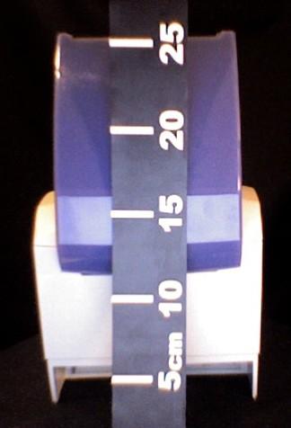 mesure de la hauteur de l'ODP200, couvercle ouvert, de dos