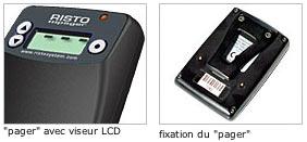risto system: pager avec écran LCD, de face et de dos