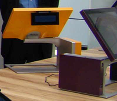 Terminal Point de Vente Sango d'Aures Technologies : orange et violet