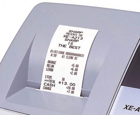 ticket de caisse d'une caisse enregistreuse sharp