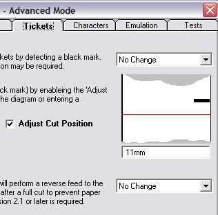 réglage de la coupe papier dans le setup utility de star