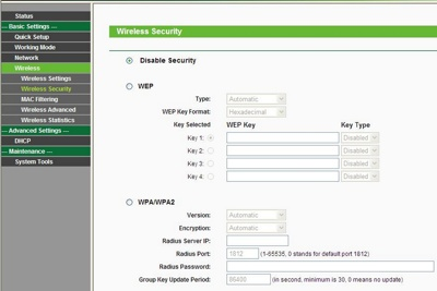 Paramétrages du routeur TP-Link: sécurité